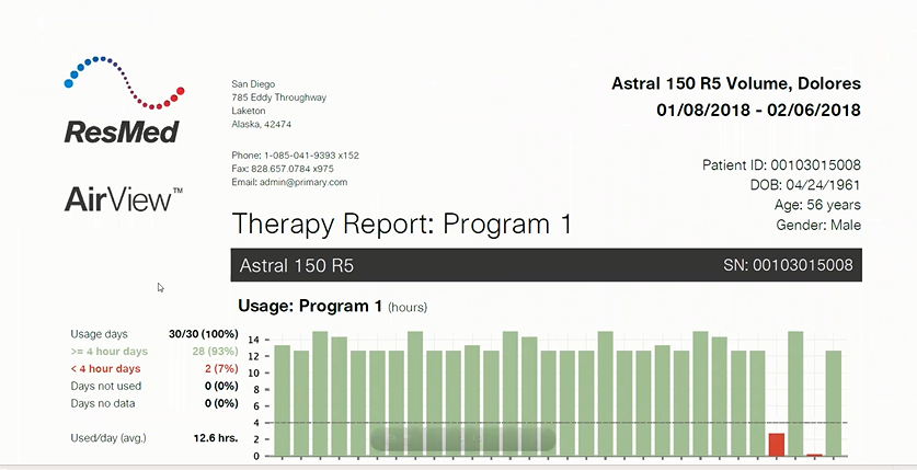 Astral in AirView - Therapy Report